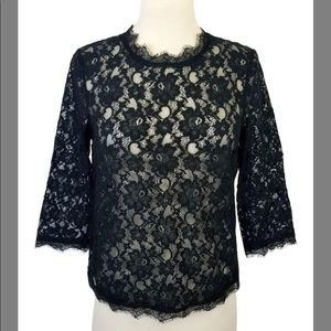 🆕Talbots Black Floral Lace Top